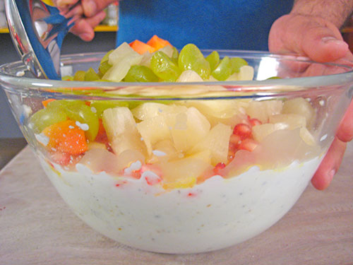 Adding chopped fruits