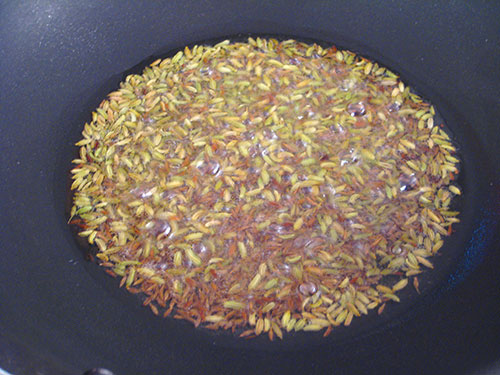 Crackled asafetida, fennel seeds, cumin seeds and black mustard seeds in heat oil