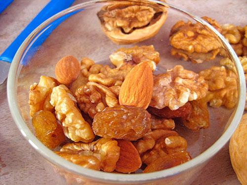 Combination Of Walnut, Raisins And Almonds
