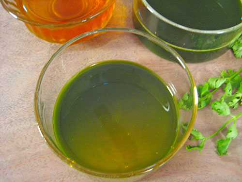 Combination Of Coriander Leaves And Honey