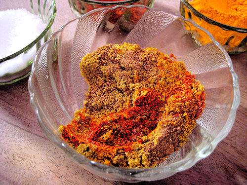 Mixing Of Spices In Bowl