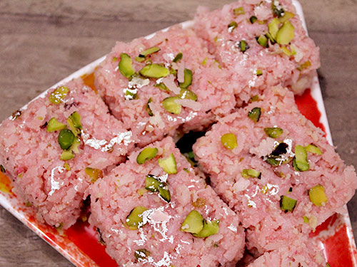 Rose Coconut Burfi Recipe In Hindi